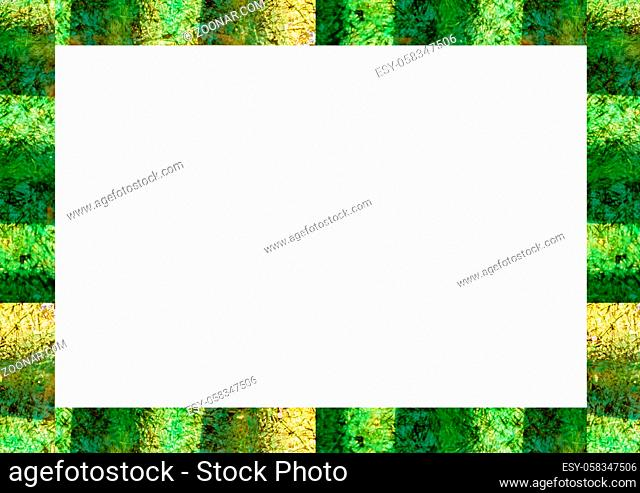 White frame background with jungle motif color decorated design edges