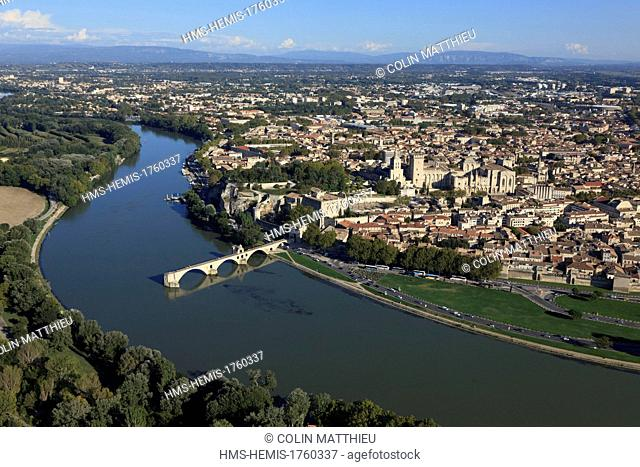France, Vaucluse, Avignon, Pont d'Avignon on the Rhone, the historic center and the Palais des Papes listed as World Heritage by UNESCO (aerial view)