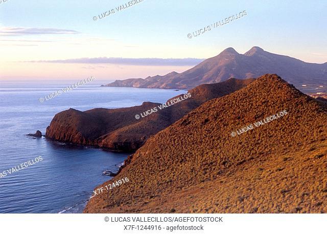 Coastline from La Amatista viewpoint  Near La Isleta del Moro  Cabo de Gata-Nijar Natural Park  Biosphere Reserve, Almeria province, Andalucia, Spain