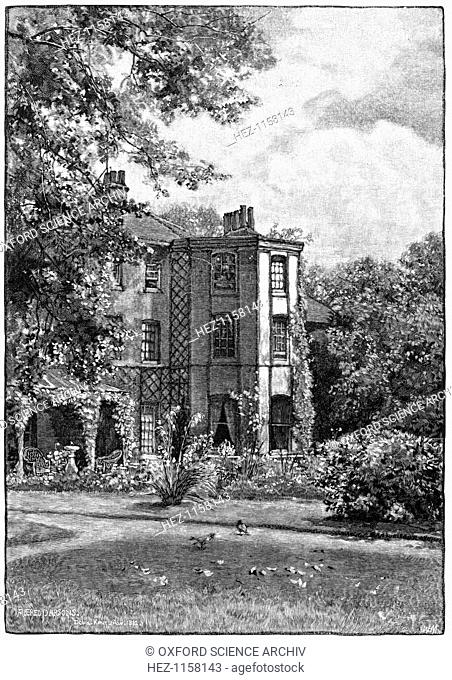 Down House, near Beckenham, Kent, from the garden, 1883. The home of Charles Darwin (1809-1882), the English naturalist who put forward the modern theory of...
