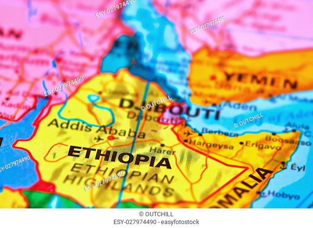 Ethiopia on world map Stock Photos and Images | agefotostock