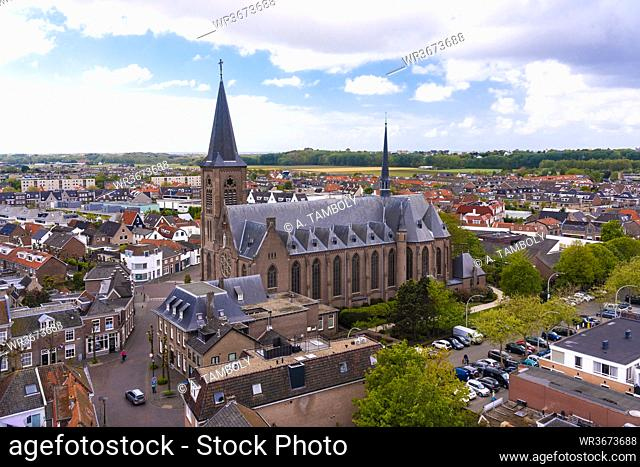 Netherlands, South Holland, Noordwijk, Aerial view of town church