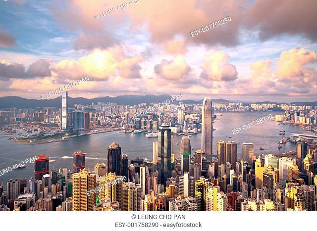 Hong Kong landmark view from the peak