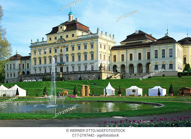 Germany, Ludwigsburg, Neckar, Langes Feld, Baden-Wuerttemberg, Ludwigsburg Palace, baroque, Bluehendes Barock, Old Corps de Logis