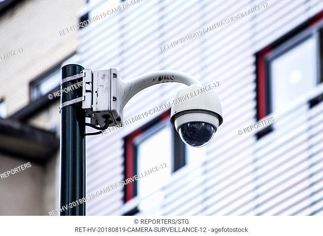 Belgium , Brussels , JUL 19, 2018 - NEWS -ILLUSTRATION  Illustration sur les cameras de securites en ville.         - Illustratie op beveiligingscamera s in de...