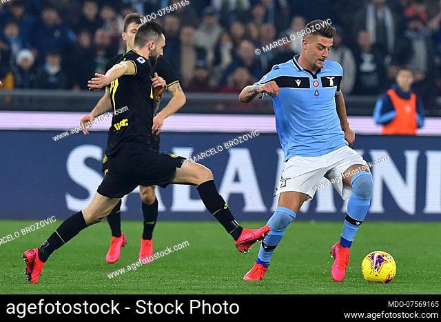 Lazio football player Sergej Milinkovic Savic and Inter football player Marcelo Brozovic during the match Lazio-Inter in the olimpic stadium