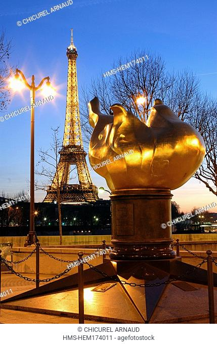 France, Paris, Eiffel Tower and the flame of Liberty above the Alma bridge where lady Diana perished