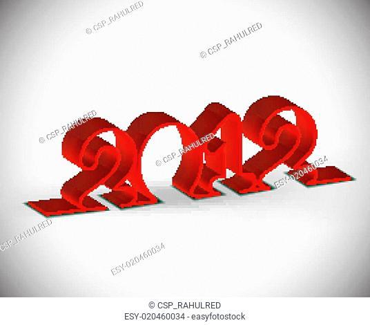 3d ribbon new year 2012 desig