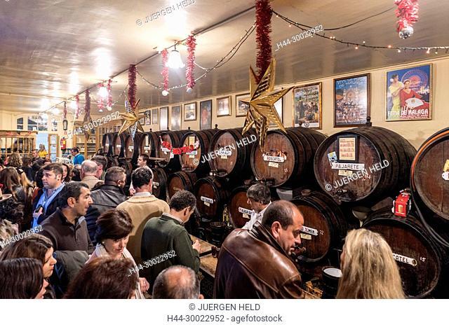 Oldest tavern in Malaga , Antigua Casa de Guardia, since 1840, vine barrels, Malaga, Andalucia, Spain