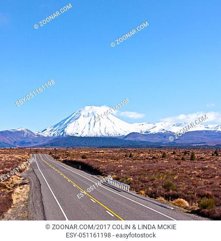 The Desert Road and Mount Ngauruhoe in New Zealand's North Island
