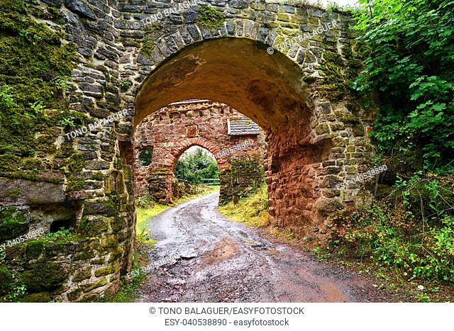 Burg Hohnstein ruins entrance arch in Harz Neustadt of Germany