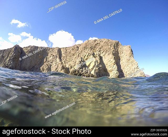 Underwater Mediterranean sea in Cabo de Gata Nijar nature reserve Andalusia Spain. La Isleta del Moro on September 1, 2020