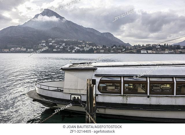 Lake Como and touristic boat, city of Lecco, Italy