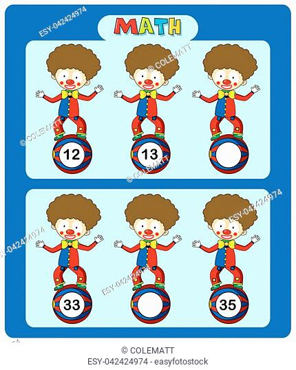 Math worksheet template with circus clowns illustration