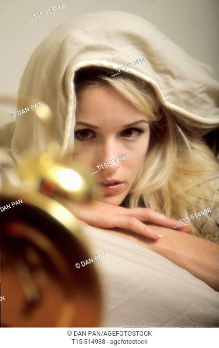 Woman waking up moody
