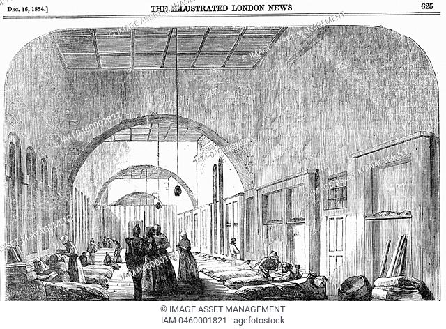 The barrack hospital at Scutari during the Crimean War 1853-56 under Florence Nightingale's 1820-1910 management  From 'The Illustrated London News'