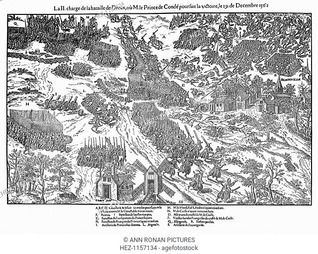 Second charge at the Battle of Dreux, French Religious Wars, 19 December 1562 (1570). The outcome of the battle was indecisive