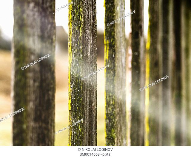 Vivid yellow fence ray of light