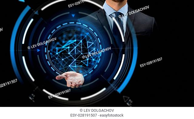 business, future technology, cyberspace and people - close up of businessman with virtual projection over black background