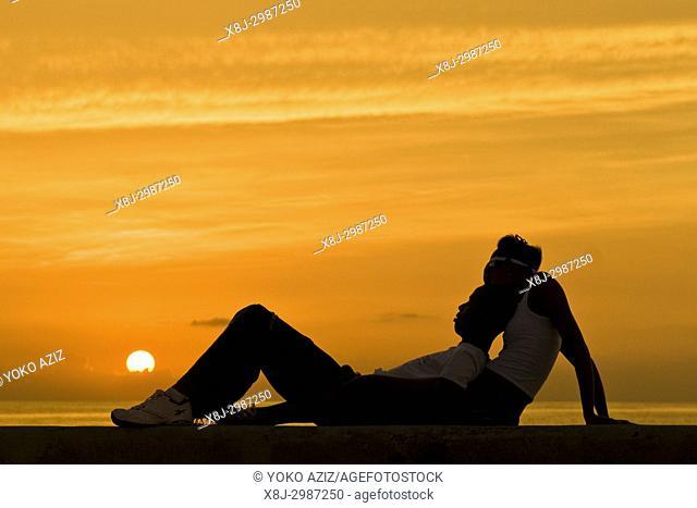 cuba, havana, sunset on the malecon, love