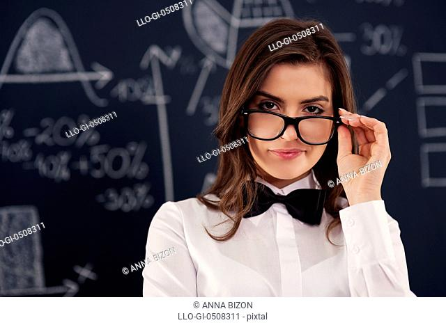 Sexy young woman wearing in glasses, Debica, Poland