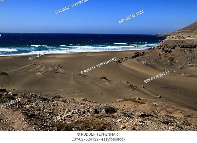 The famous lagoon in Playa la Solapa, Fuerteventura, Canary Islands, Spain