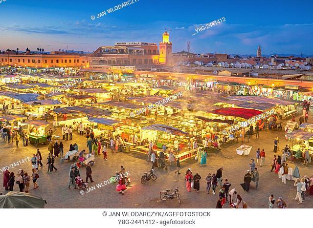 Marrakesh. Jemaa el Fna Square in the night. Morocco