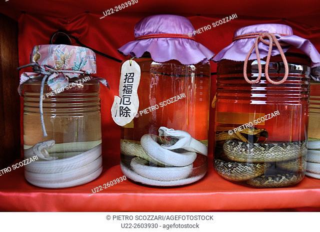 Naha (Okinawa, Japan): Habu (viper) awamori sold to tourists along Kokusai-dori