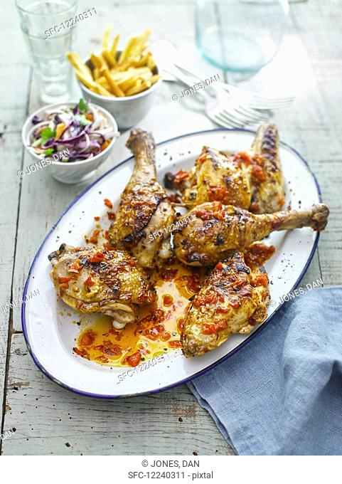 Piripiri chicken with coleslaw