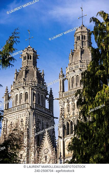 Towers of the Cathedral of Saint Gatien. Tours, Indre et Loire, Loire Valley, France, Europe