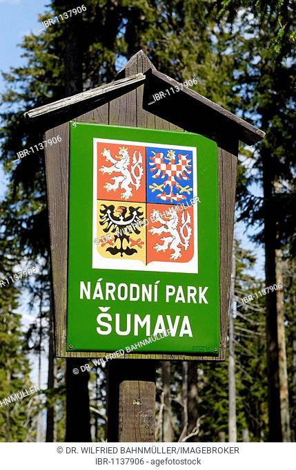 Sign for the Czech National Reserve Sumava, Dreisessel, Bavarian Forest, Lower Bavaria, Germany, Europe
