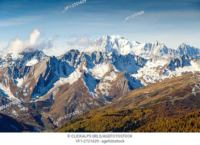View on Mont Blanc (Gran San Bernardo valley, Aosta valley, Italy)
