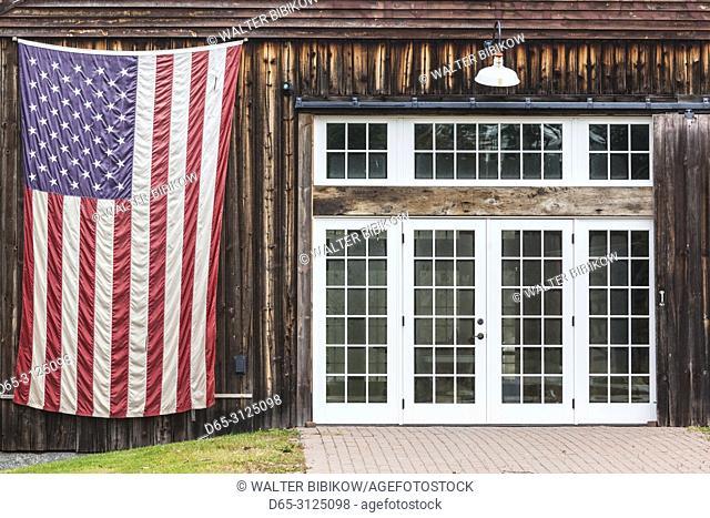 USA, New England, New Hampshire, Hillsborough, large US flag