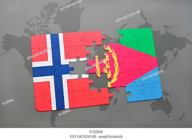 puzzle with the national flag of norway and eritrea on a world map background. 3D illustration