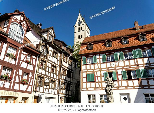 half-timbered buildings, Schnabelgiere fountain and city church in Meersburg at Lake Constance, Baden-Württemberg, Germany,