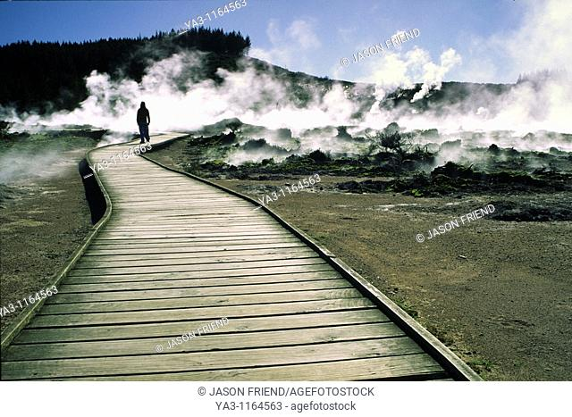 NEW ZEALAND, Central Plateau, Wairakei  Girl standing on boardwalk over steam and thermal activity