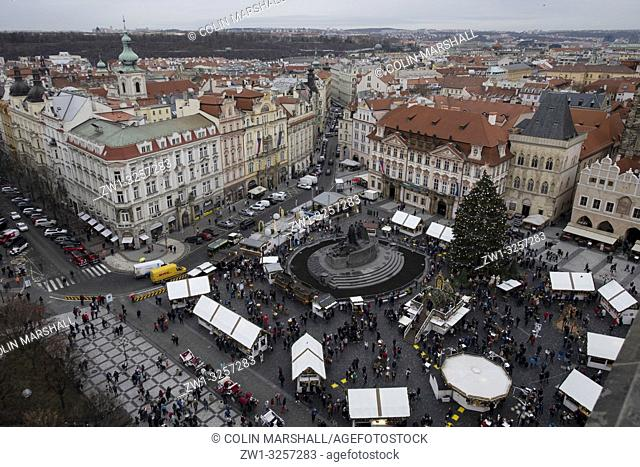 Christmas market around Jan Hus Memorial, View from Old Town Hall, Old Town Square, Prague, Czech Republic