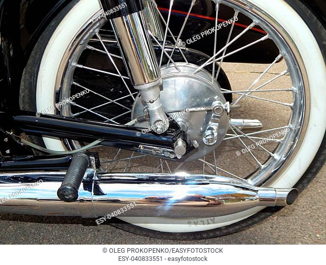 Retro motorcycle and bike antique parts and elements