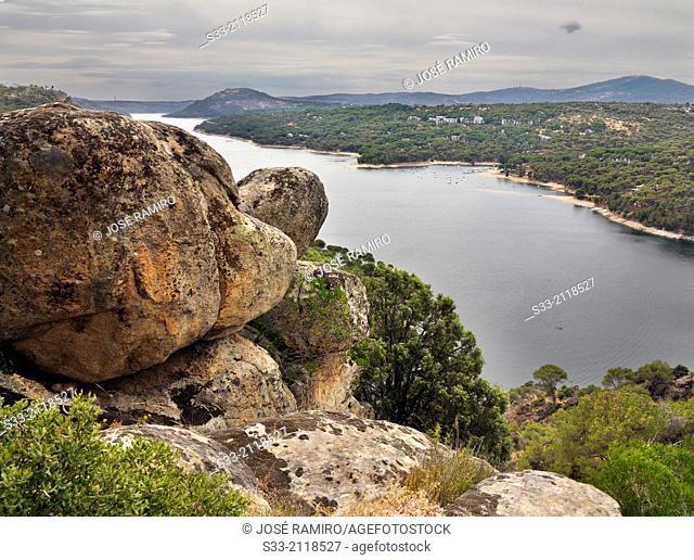 San Juan reservoir from the Almodon hill. San Martin de Valdeiglesias. Madrid. Spain