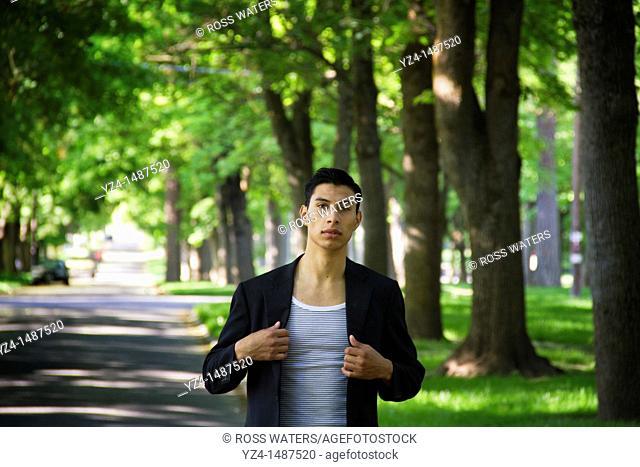A young Latino man in Spokane, Washington, USA