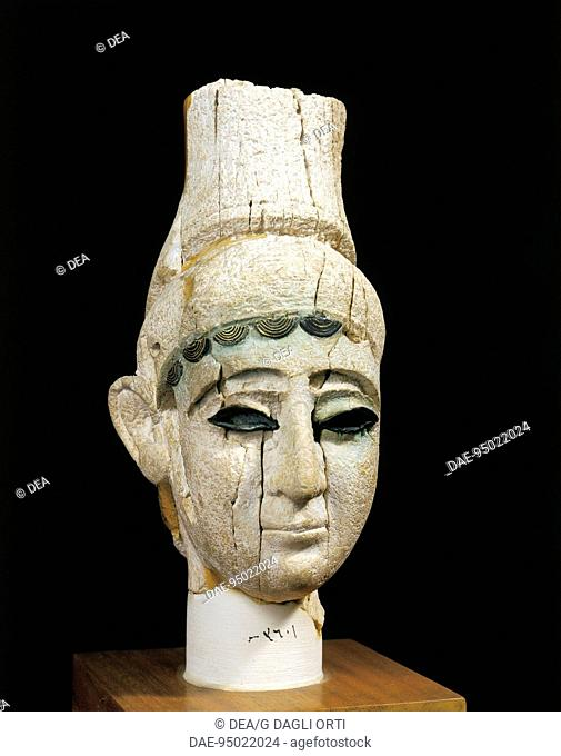 Phoenician civilization, 13th century b.C. Ivory head of a prince. From the Royal Palace at Ugarit (Ras-Shamra, Syria).  Damascus