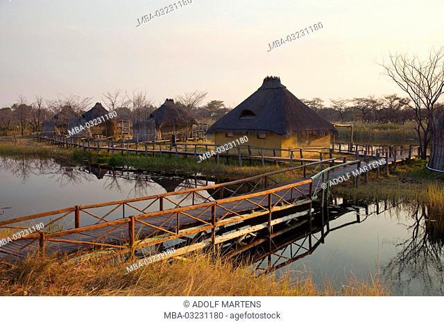 Africa, Namibia, Caprivi, Kwando area, Kwando camp, evening, river, Kwando, peripheral zone, branch, waters, trees, water scenery