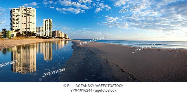 Beach Reflections Panoramic Composite Image - Lauderdale-by-the-Sea, Florida USA