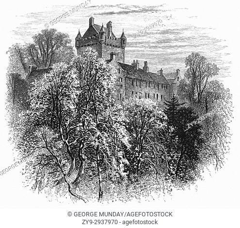 1870: Cawdor Castle was built around a 15th-century tower house, with substantial additions in later centuries in the parish of Cawdor in Nairnshire, Scotland