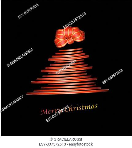 Christmas tree with gift ribbon and chignon on black