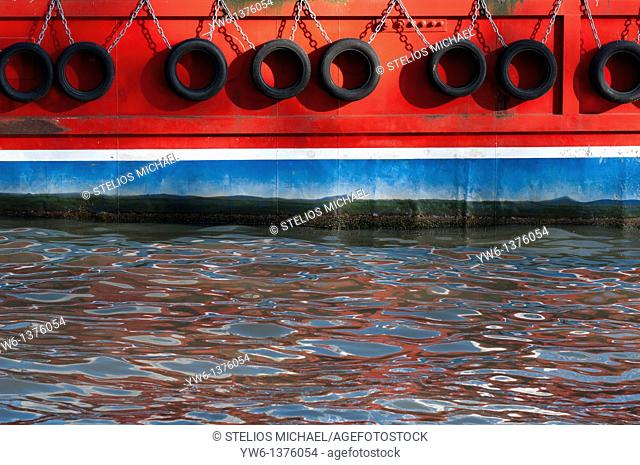 Abstract closeup of boat with water reflections, London, England