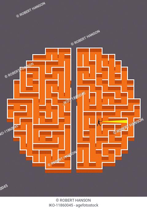Businessman with torch lost in brick wall brain maze