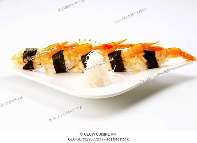 Close-up of sushi in a plate
