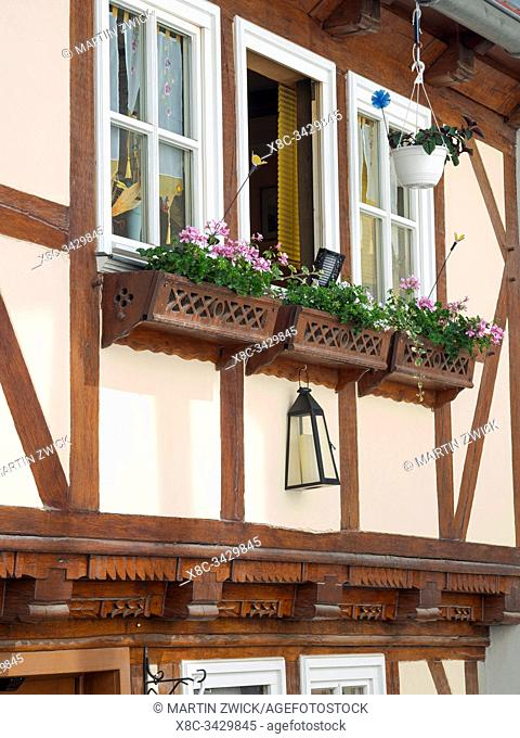 Old town houses buildt with traditionl timber framing The medieval town Muehlhausen in Thuringia. Europe, Central Europe, Germany
