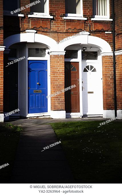 Front Doors at End of Path - London UK